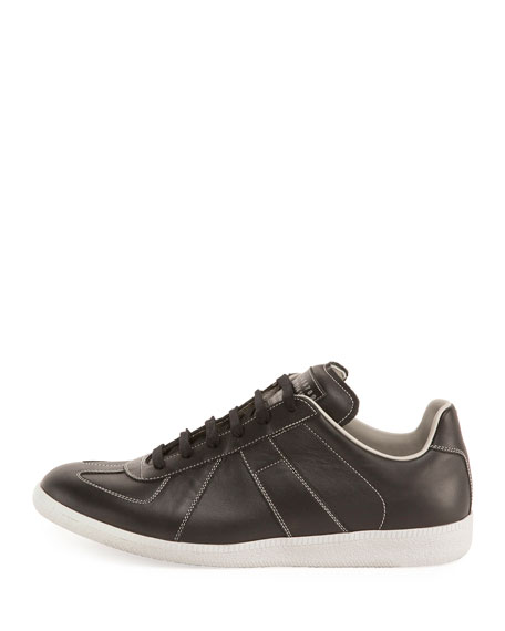 Men's Replica Contrast-Stitch Leather Low-Top Sneaker, Black