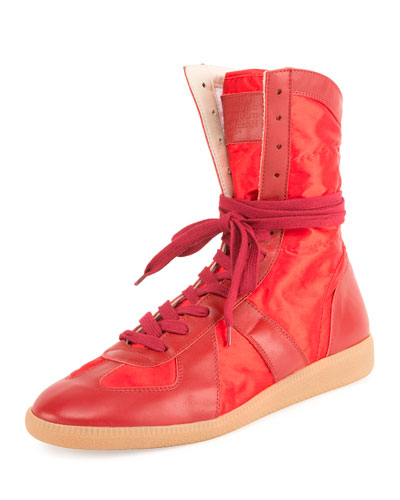 Leather Boxing Sneaker, Red