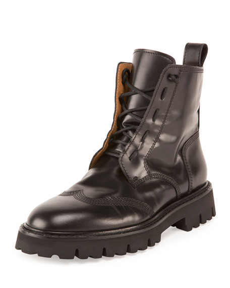 Wing-Tip Leather Combat Boot, Nero (Black)