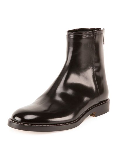 Leather Back-Zip Ankle Boot, Black