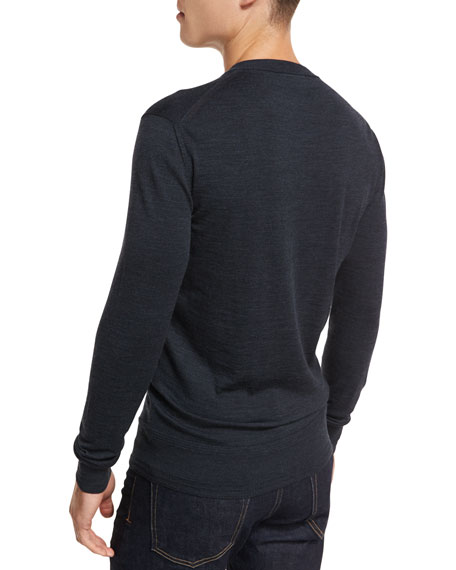 Merino Wool V-Neck Sweater, Navy