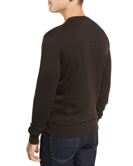 Merino Wool V-Neck Sweater, Brown