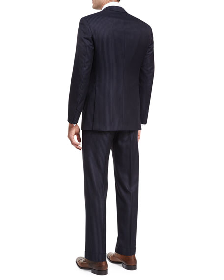 Tonal-Stripe Wool Two-Piece Suit
