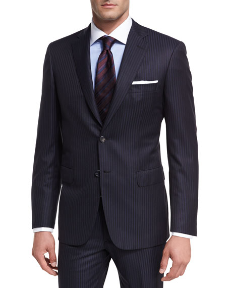 Brioni Tonal-Stripe Wool Two-Piece Suit