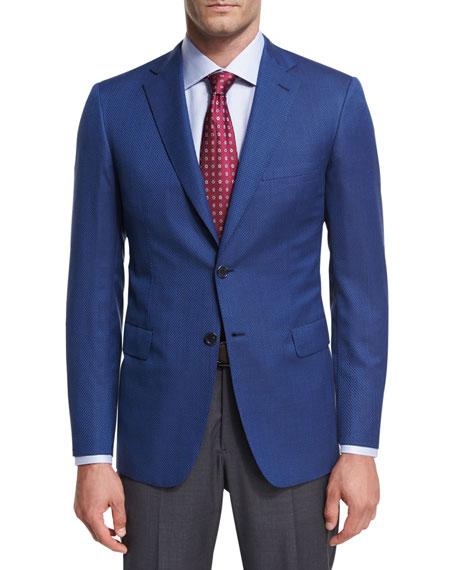 Basketweave Wool Two-Button Sport Coat