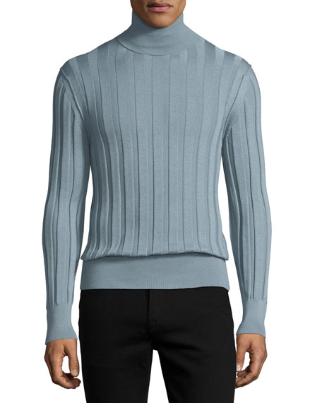 Cashmere-Silk Ribbed Turtleneck, Blue/Silver
