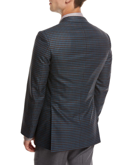 Check Wool Sport Coat, Teal Blue/Rust