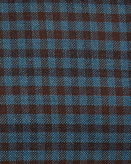Check Wool Sport Coat, Teal Blue/Rust