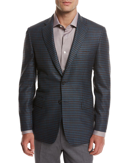 Brioni Check Wool Sport Coat, Teal Blue/Rust