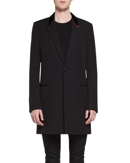 Chesterfield Wool Velvet-Collar Single-Breasted Coat, Black