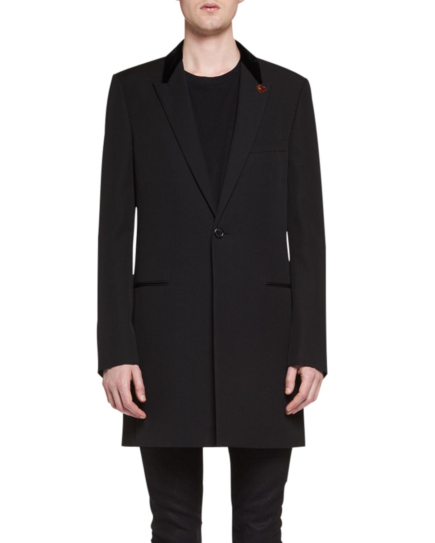7edcb180ed1 Saint Laurent Chesterfield Wool Velvet-Collar Single-Breasted Coat, Black