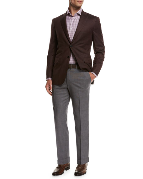 Micro-Tic Wool Trousers, Gray