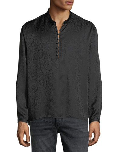 Band-Collar Marbled Silk Tunic