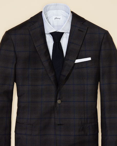 Windowpane Plaid Wool Two-Button Sport Coat