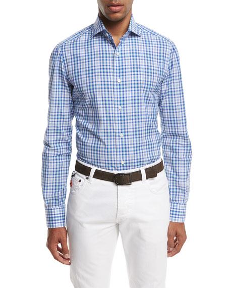 Isaia Check Cotton Dress Shirt, Blue/Green