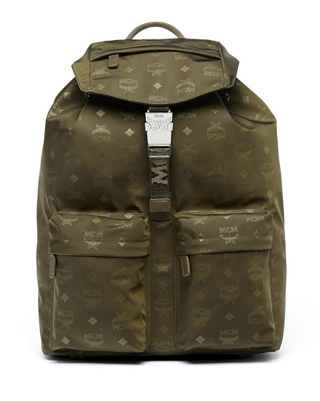 MCM Dieter Monogramed Canvas Backpack, Green