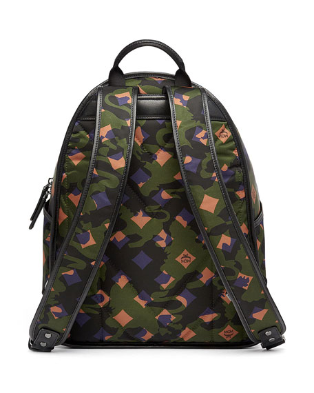 Dieter Munich Lion Camo Canvas Backpack, Green