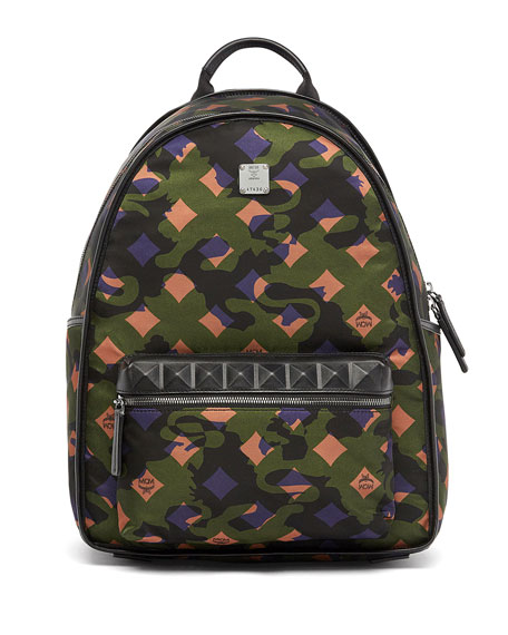 MCM Dieter Munich Lion Camo Canvas Backpack, Green
