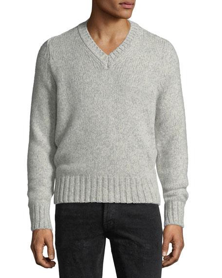 Cashmere-Blend V-Neck Sweater
