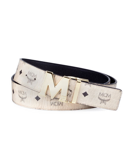 MCM Claus Reversible Visetos & Leather Belt and
