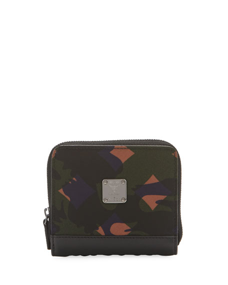 MCM Dieter Munich Lion Camo Nylon Zip Wallet