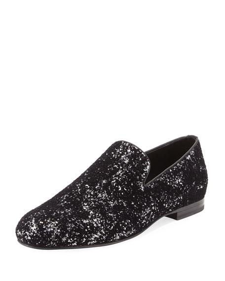 Sloane Men's Coarse Glitter Velvet Slipper, Black/Silver