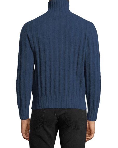 Brushed Cashmere Ribbed Turtleneck Sweater