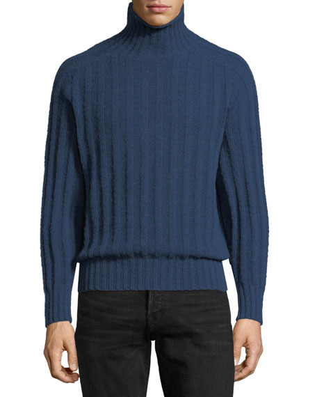 TOM FORD Brushed Cashmere Ribbed Turtleneck Sweater