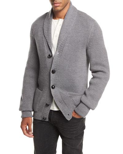 Iconic Shawl-Collar Cardigan, Light Gray
