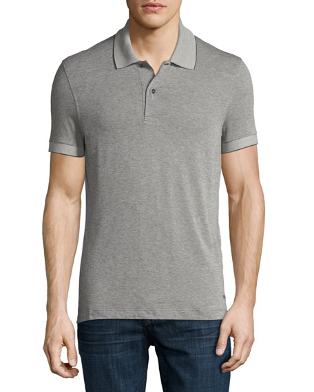 TOM FORD Pique Polo Shirt, Medium Gray