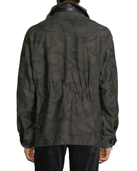 Camouflage-Print Four-Pocket Oversized Jacket
