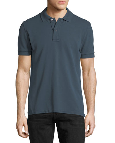 Tennis Pique Polo Shirt, Slate Blue