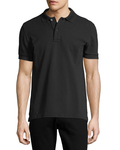 Tennis Pique Polo Shirt, Black