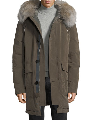 Water-Resistant Fur-Trim Down Jacket
