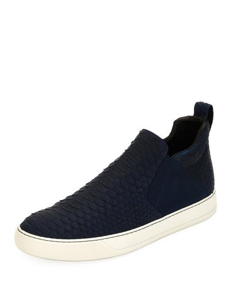 Lanvin Men's Python & Leather Mid-Top Skate Sneaker,