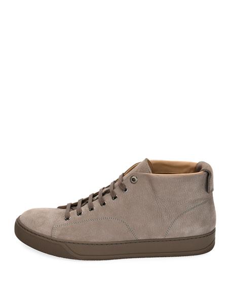 Men's Nubuck Leather Mid-Top Sneakers, Light Gray