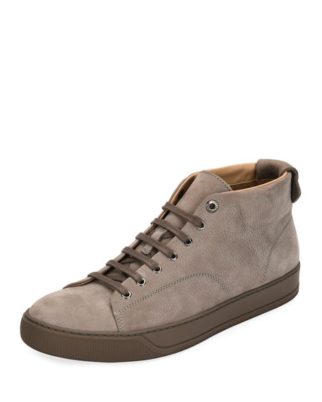 Lanvin Men's Nubuck Leather Mid-Top Sneaker, Light Gray