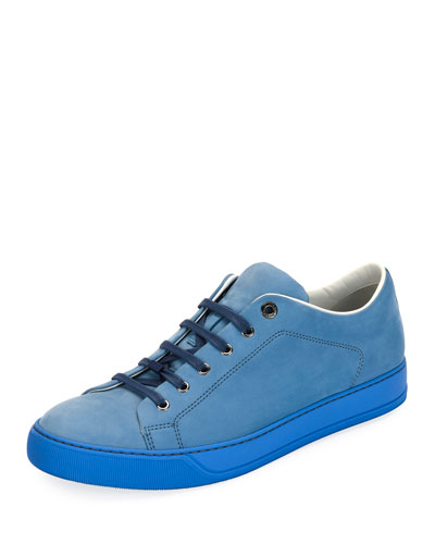 Men's Nubuck Leather Low-Top Sneaker, Sky