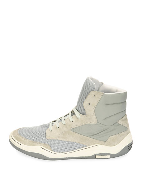 Men's Mesh & Suede Indoor High-Top Sneakers, Light Gray