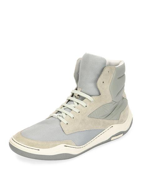 Lanvin Men's Mesh & Suede Indoor High-Top Sneaker,