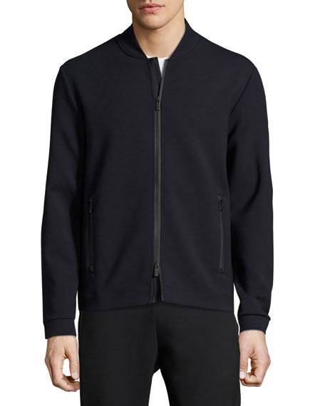 Ponte Zip-Front Track Jacket, Navy