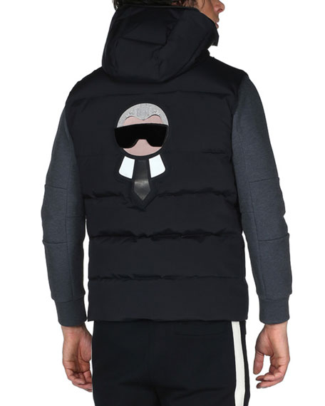 Karlito Hooded Down Ski Vest, Black