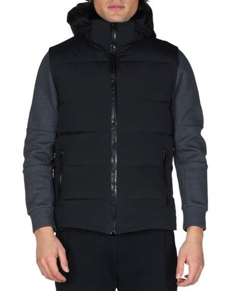 Fendi Karlito Hooded Down Ski Vest, Black