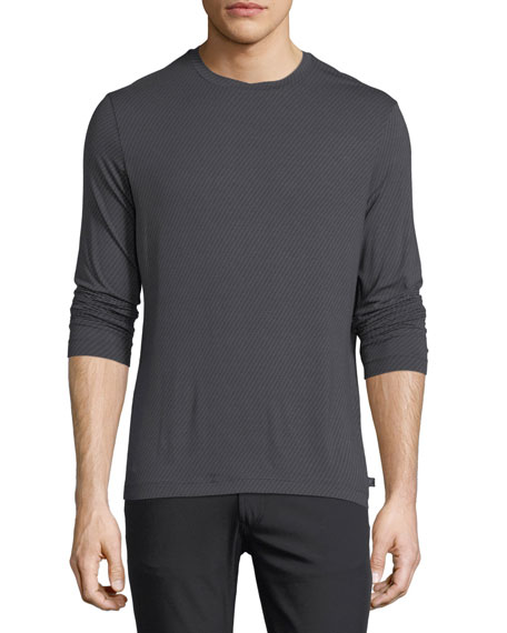 Armani Collezioni Brushed Striped Long-Sleeve T-Shirt
