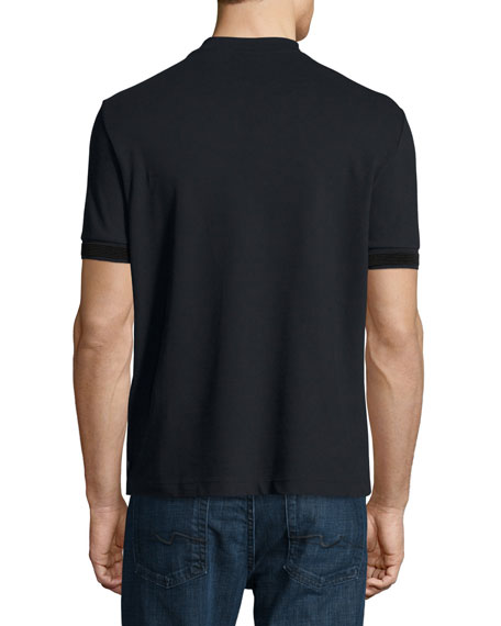 Stretch-Cotton Pique V-Neck T-Shirt, Navy