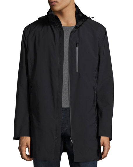 Armani Collezioni Hooded Zip-Front 3/4-Length Coat, Black