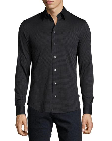 Armani Collezioni Square Jersey Cotton Sport Shirt, Multicolor
