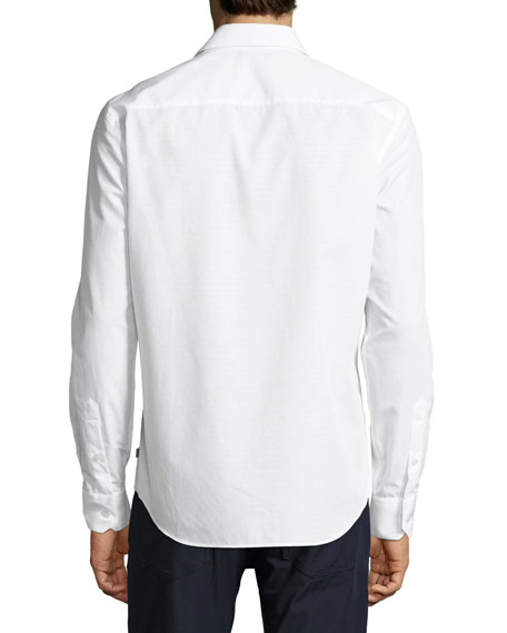 Tonal Neat Cotton Sport Shirt, White