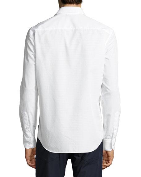 Tonal Neat Cotton Sport Shirt, White