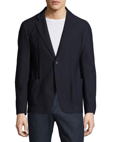Textured Mesh Two-Button Blazer, Navy Blue